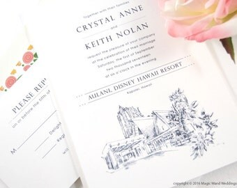Aulani , Disney Resort Destination Wedding Invitations Package (Sold in Sets of 10 Invitations, RSVP Cards + Envelopes)