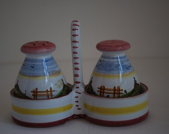 Vintage Salt and Pepper Shakers Made in Italy Hand Painted Pinks, Blues, Greens, Yellows
