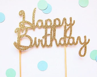 Happy Birthday gold silver glitter cake topper (custom colours available)