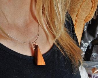 Handmade WoodenOnion Yew wood Triangle Pendant Necklace with copper clasp