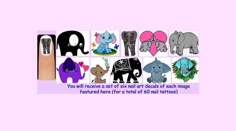 Magnífico Elefante Arte De Uñas Patrón - Ideas de Arte de Uñas ...