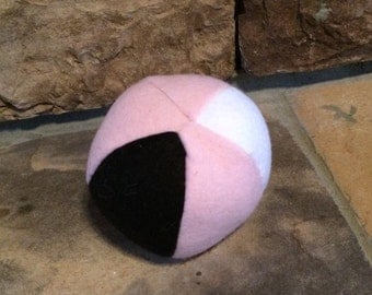 Pink White and Black Squeaker Ball Fleece Dog Ball Toy Squeaker Dog Toy Puppy Chew Toy
