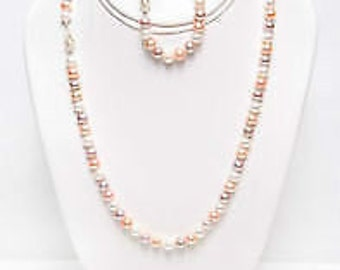 Natural Multi Color Freshwater Cultured Pearl Set Necklace and Bracelet with 925 Sterling Silver Clasp
