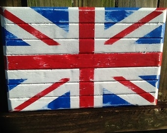 Small Handcrafted British Wood Flag