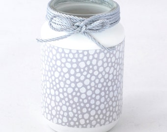 Silver Tealight holder with white polka dots