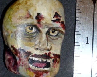 Zombie Face Painted Rock