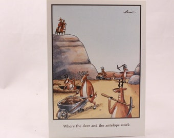 Vintage 1991 Gary Larson Far Side Greeting Card and Envelope. Deer and Antelope