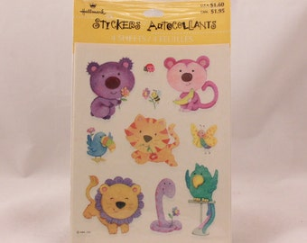 Vintage Hallmark Animal Stickers. 4 Sheets per Sealed Package