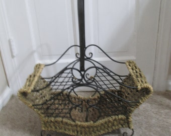 Unique Vintage Magazine Rack of Woven Braided Wicker and Wrought Iron