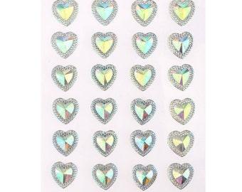 CraftbuddyUS 24 x 16mm Self Adhesive Pointed Resin AB Clear Hearts Stick on Gems