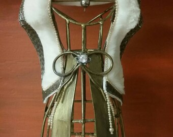 Golden Recycled Mannequin Body Form with Vintage Fur Collar & Beads