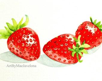 "Sweet Strawberries, Original Watercolor Illustration, 5""X7"""