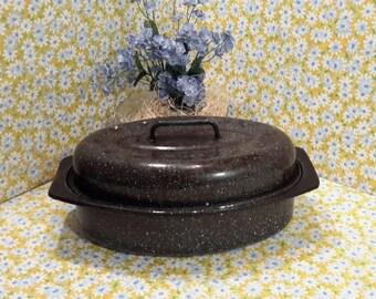 Graniteware Roaster/Small Blue Enamelware Roaster/Oval Lidded Roaster/Roasting Pan/Kitchen Roasting Pan