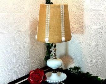 Milk Glass  Accent Lamp, Hobnail Milk Glass, White Vintage Lamp, Burlap Lamp Shade, Electric Table Lamp, Mid Century Milk Glass Lamp