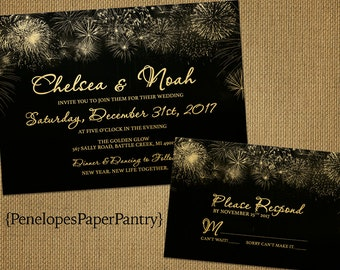 New Year's Eve Wedding Invitation,Black and Gold,Firework Bursts,Shimmery,Elegant,Traditional,Customizable With Black Envelopes