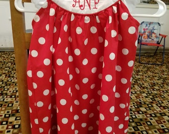 Toddler and girls  round yoke dress with monogram