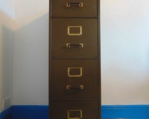 Vintage 1930's Industial Four Drawer Filing Cabinet in Dark Green.