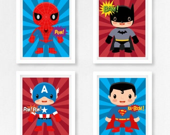 Superhero Nursery Art, Superhero Wall Art, Superhero Prints, Baby Boy Nursery Decor, Marvel Wall Art, Geek Baby Decor, New Baby Boy Gift