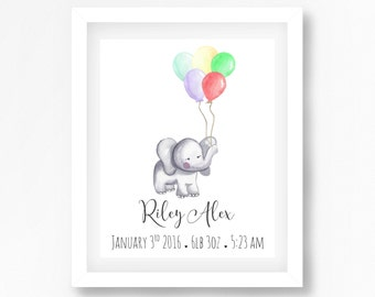 Elephant Nursery Art, Neutral Nursery Decor, Personliased Baby Print, Baby Name Print, Personalised Gift for New Baby, Personalised Wall Art