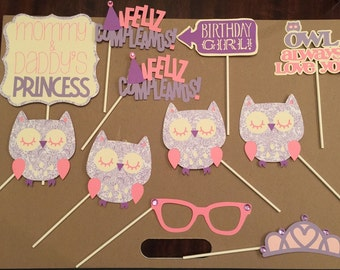12 Pcs Owl Birthday Photo booth Props