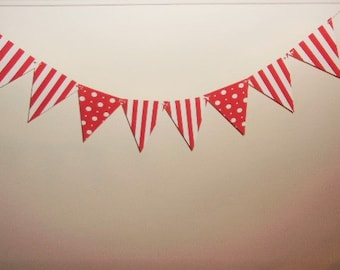 Red and White Pennants banner, Carnival Color Banner, Circus Pennants, Birthday Pennants, Bridal Shower, Baby