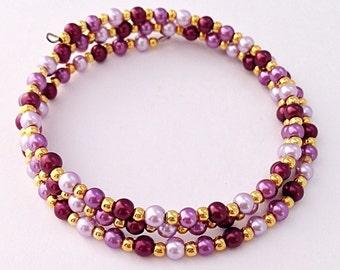 Purple Bracelet / Triple Wrap Around Braclet / Pearl Beaded Memory Wire / Wrapped Charm Bracelet / Bridesmaids Jewelry / Wedding Bracelet