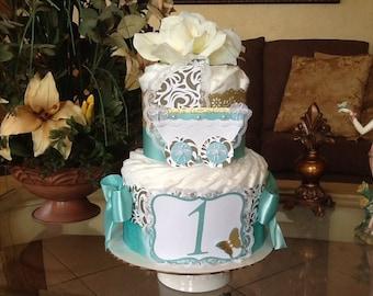 Neutral diaper cake/Gold and teal diaper cake/Neutral baby shower centerpiece/Elegant diaper cake/Elegant baby shower/Neutral baby gift
