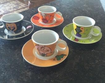 Super cute set of 4 espresso cups saucers  bright colors