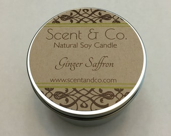 Ginger Saffron || Soy Candle || Wood Wick || 8oz tin