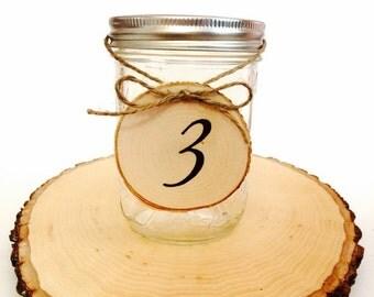 Tree slice table numbers for rustic wedding, woodland wedding