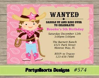 DIY - Cowgirl Birthday Childrens Invitations