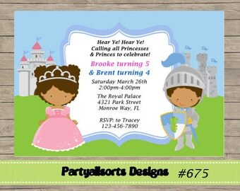 256 DIY - Princess and Prince Party Invitations Cards.