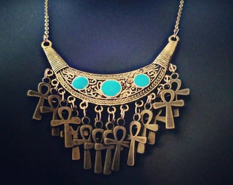 Gold and Blue Ankh Necklace