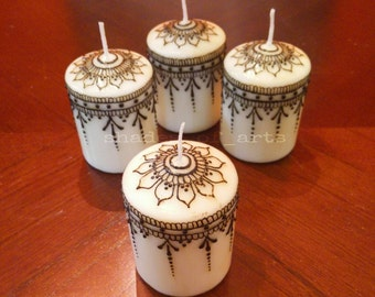 Handcrafted Henna Designer Candle Set/ Henna candles / Party Favors