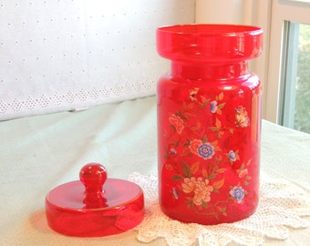Ruby Red Glass Canister with Lid