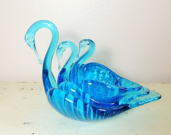 Blue Blown Glass Swan Nesting Dishes, Set of 3