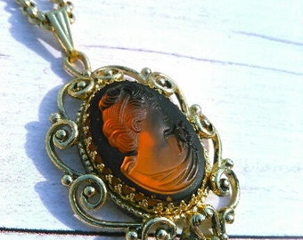 Vintage Whiting and Davis Cameo Necklace Circa 1970s to 1980s
