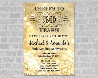 Golden Wedding Anniversary Invitation, Gold Bokeh 50th Anniversary Invitation, Gold Glitter Anniversary Invite, DIGITAL OR PRINTED