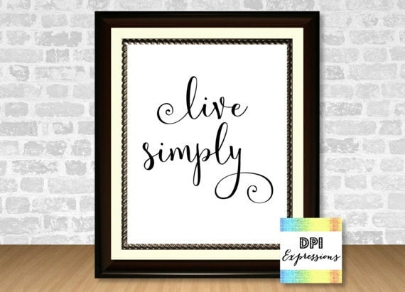 Live simply quote art print minimalist art print wall for Live simply wall art