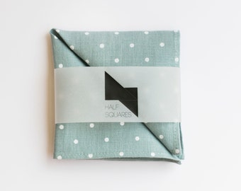 Pocket square light grey with white polka dots - men fall fashion trends - gift idea for him accessory - handkerchief - mint pocket square