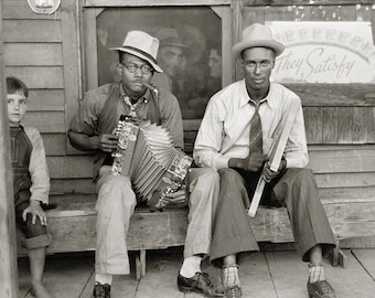 Street Musicians, 1938. Vintage Photo Digital Download. Black & White Photograph. Music, Louisiana, Accordian, Cigar, 1930s, Historical.