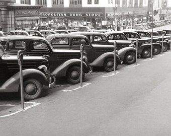 Automobiles in Omaha, 1938. Vintage Photo Digital Download. Black & White Photograph. Cars, Main Street, Downtown, 1930s, 30s, Historical.