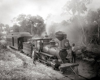 Jupiter & Lake Worth Railroad, 1897. Vintage Photo Digital Download. Black and White Photograph. Steam Train, Locomotive, 1890s, Historical.