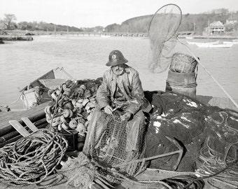 Cape Ann Fisherman, 1905. Vintage Photo Digital Download. Black & White Photograph. Fish, Fishing, Massachusetts, 1900s, Historical.