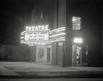 Movie Theater at Night, 1941. Vintage Photo Reproduction Print. 8x10 Black & White Photograph. Movies, Film, Noir, Hollywood, 1940s, 40s.
