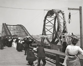 Atlantic City Rollercoaster, 1901. Vintage Photo Digital Download. Black & White Photograph. Summer, Boardwalk, Vacation, 1900s, Historical.