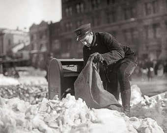 Mailman in the Snow, 1922. Vintage Photo Digital Download. Black & White Photograph. Winter, Storm, Mail, Letters, 1920s, 20s, Historical.