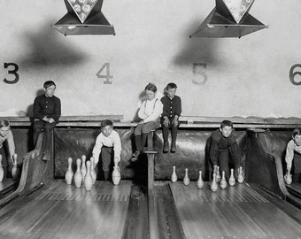 Arcade Bowling Alley, 1909. Vintage Photo Digital Download. Black & White Photograph. Bowling Pin, Pinsetters, Boys, 1900s, Historical.