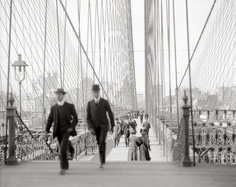 Brooklyn Bridge Walkway, 1905. Vintage Photo Digital Download. Black & White Photograph. New York City, Manhattan, Walking, 1900s.
