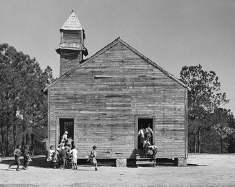 Rural Schoolhouse, 1937. Vintage Photo Digital Download. Black & White Photograph. School, Teacher, Children, 1930s, 30s, Historical.